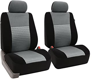 FH Group FH-FB060102 Trendy Elegance Pair Bucket Seat Covers, (Airbag Compatible) Gray/Black Color-Fit Most Car, Truck, SUV, or Van