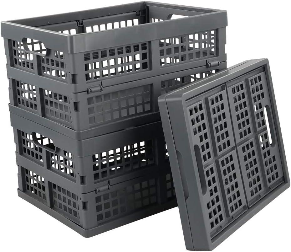 Ramddy 16 Quart Collapsible Crate, Plastic Storage Bins Basket, 3 Packs