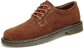 Xiang Ye Oxfords for Men Classic Work Shoes Lace up Business Casual Suede Upper Low Heel Anti-Skid Rubber Outsole Vegan Round Toe (Color : Brown, Size : 7 UK)