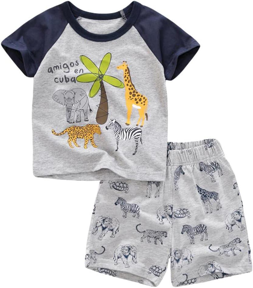 مجموعة سراويل قصيرة للأطفال الصغار بنين وديناصورات مطبوعة على شكل حيوانات مجموعة ملابس من قطعتين