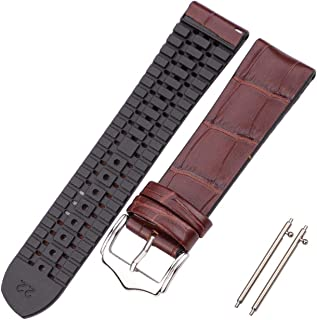 watchbands Grains Cowhide and Silicone Watch Strap Bracelet 18 20 22mm Men Women Waterproof Breathable Watchbands Watches Accessories-Brown-20mm