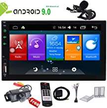 Android 9.0 Touch Screen Car Stereo 7 inch Double Din in Dash Car Radio Video Player GPS Navigation System Work with Bluetooth WiFi Mirror Link Wireless Remote External MIC+Camera