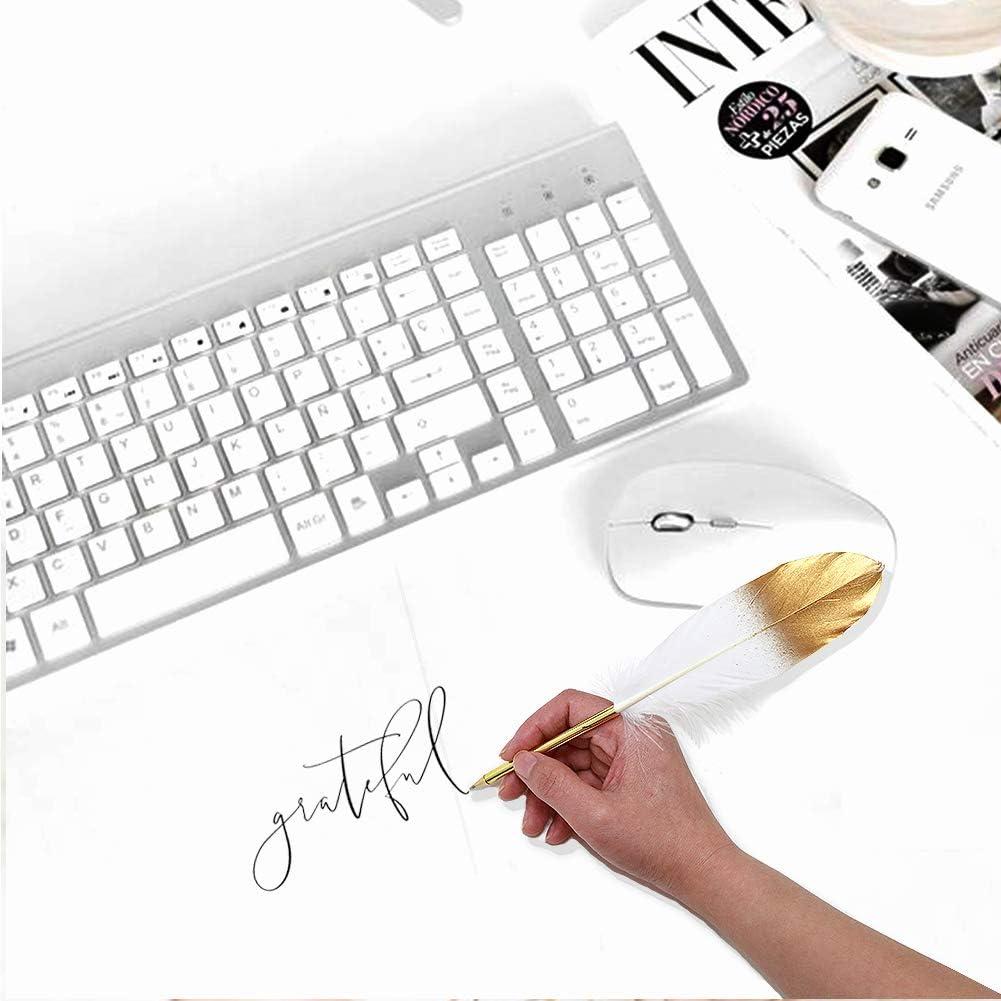 Cheerland Jubiland Golden White Feather Signature Ballpoint Pen Set f/ür Party Reception Signing Zeremonie Eheschlie/ßung Baby Shower Jubil/äum Graduation Stationery Office Home Gold und Wei/ß