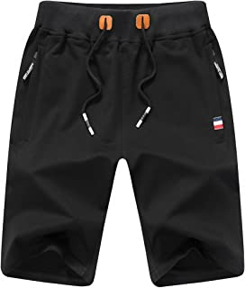 JustSun Men's Sports Shorts Cotton with Zip and Elastic Waist