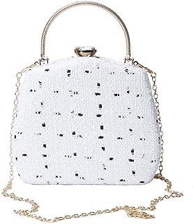 Women's Evening Bag, Fashion Handbag, Clutch, Elegant, Suitable for Dating, Party, Wedding (Color : White)