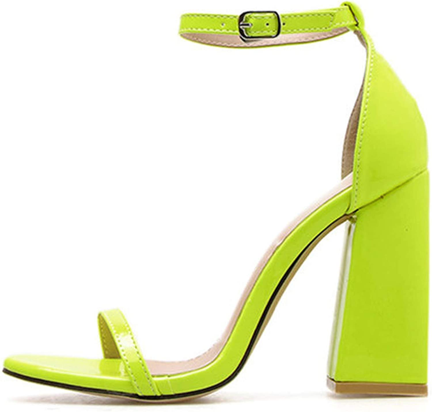 Patent Leather Fluorescent Green Buckle Strap Women's Sandals shoes Sexy Party Square High Heels Sandals