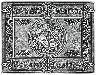 Rectangular Cast Pewter Celtic Horse Kilt Trews Belt Buckle