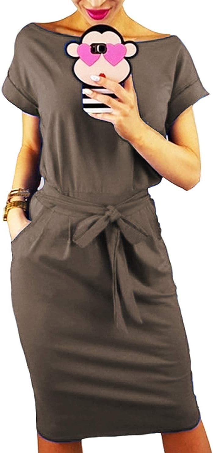 Longwu Women's Elegant Short Sleeve Wear to Work Casual Pencil Dress with Belt