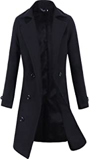 Lende Men Trench Coat Winter Long Jacket Double Breasted Overcoat
