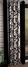 DECO READY Eyelet Polyester Floral 7ft Door Curtain Pack of 1 Piece Curtain,Color Black