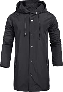 UUANG Mens Jacket Lightweight Windproof Raincoat Mens Waterproof with Hood Long for Any Outdoor Activities