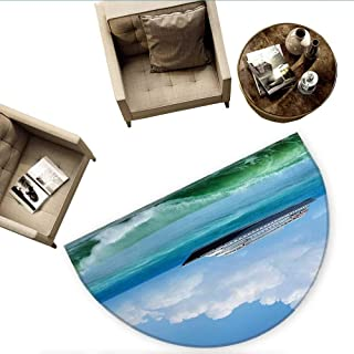 Nautical Semicircle Doormat Traveling Themed View of Ship in The Aquatic World with Fluffy Clouds Day Time Landscape Halfmoon doormats H 74.8