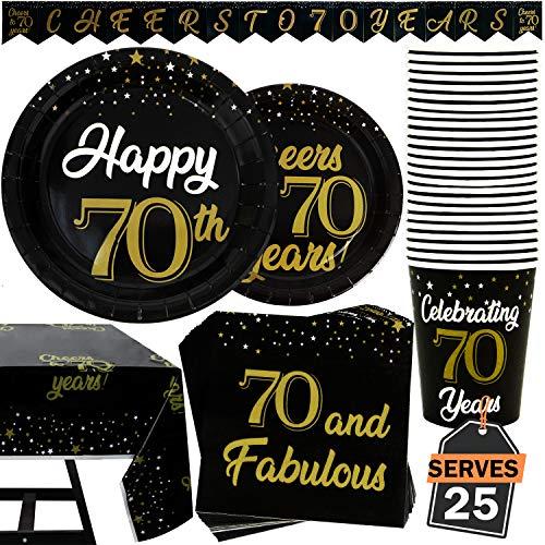 102 Artículos de Decoración para Cumpleaños Número 70 Accesorios para Fiesta Set de Platos, Vasos, Servilletas, Pancarta y Mantel, Accesorios para 25 Personas