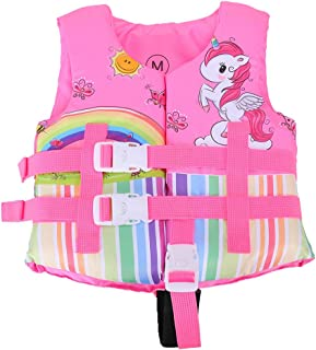 EHIOR Swim Vest for 25-55 lbs Toddlers Kids,  Learn to Swim Aid Quick-Dry Water Float Life Jacket with 3 Buckles and Straps for Pool,  Lake,  Beach (Pink Unicorn)