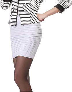 Women Skinny Stretchy Side Shirring Fabric Solid Colored Elegent Mini Skirts