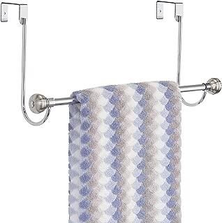 mDesign Metal Bathroom Over Shower Door Towel Rack Holder - Storage Organizer Bar for Hanging Washcloths, Bath, Hand, Face & Fingertip Towels - Brushed with Chrome Finials