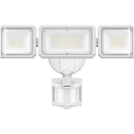 LEPOWER 42W LED Security Lights Motion Sensor Outdoor Light, 4200LM Dusk to Dawn Flood Light, Innovative Head Design, 3 Modes, 5000K, IP65 Waterproof, 3 Head Motion Detected for Garage, Yard
