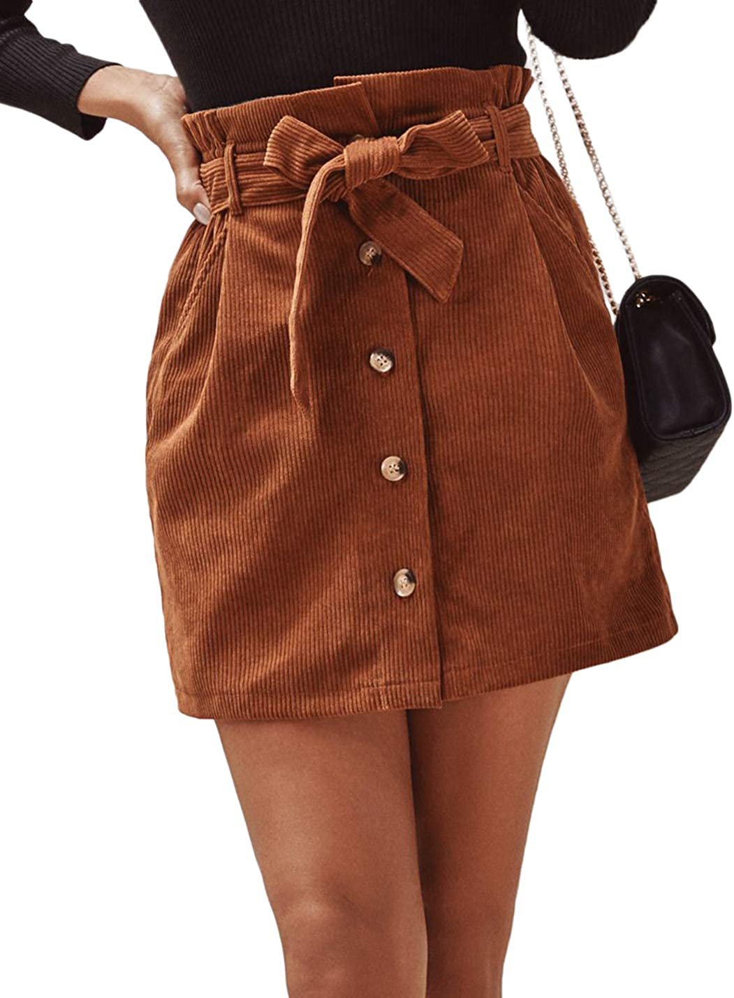 Uaneo Womens Corduroy Casual Paperbag Belted High Waist Button Front Mini Skirts