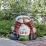 Gartenzwerge Figur,6 Stück Gartenzwerg Klein Statue, Mini-Gartenzwerge-Set Als Mitbringsel, Mini Harz Gartendeko Figuren, Happy Gartenzwerg Skulptur Zwerg-Statue (Welcome-1)