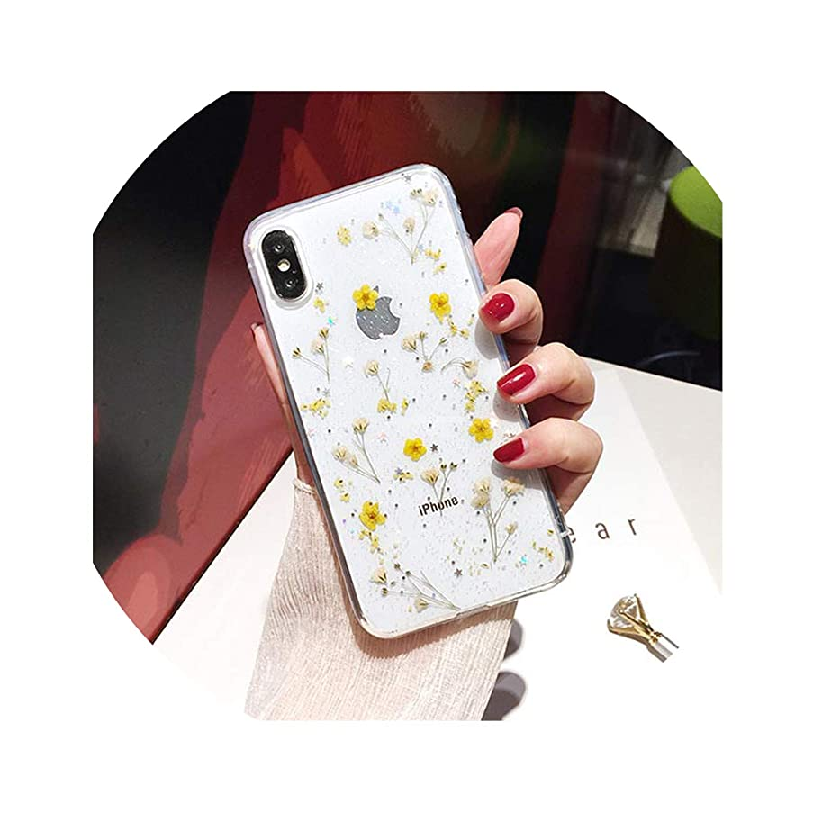 Real Flowers Dried Flowers Transparent Soft TPU Cover for iPhone X 6 6S 7 8 Plus Phone Case for iPhone XR XS Max Cover,c,for iPhone XR