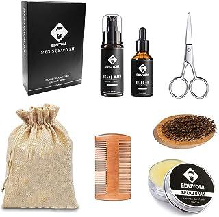 EBUYOM Beard Kit Beard Care For Men,Beard Oil,Beard Balm,Beard Shampoo,Beard Wooden Comb,Beard Brush,Mustache Scissors,Sto...