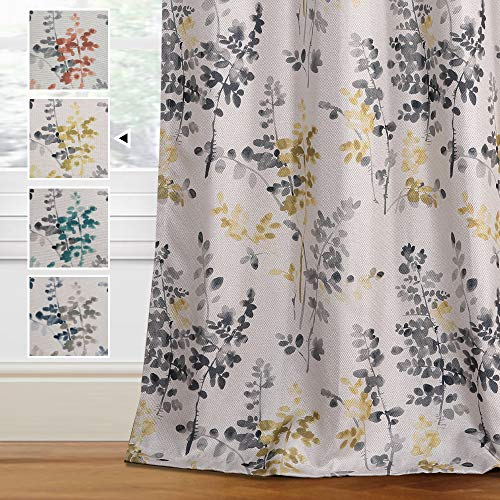 H.VERSAILTEX Linen Blackout Curtains 63 Inches Long Room Darkening Burlap Effect Linen Curtain Draperies for Living Room/Bedroom Grey and Yellow Vintage Classical Floral Printing Grommet 2 Panel