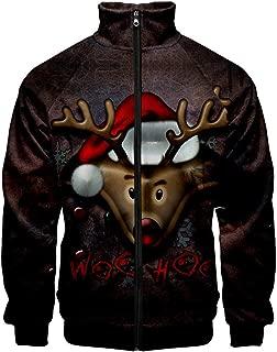 iZHH Men's Christmas Sweatshirt Funny 3D Print Zipper Long Sleeve Shirt Men Tops