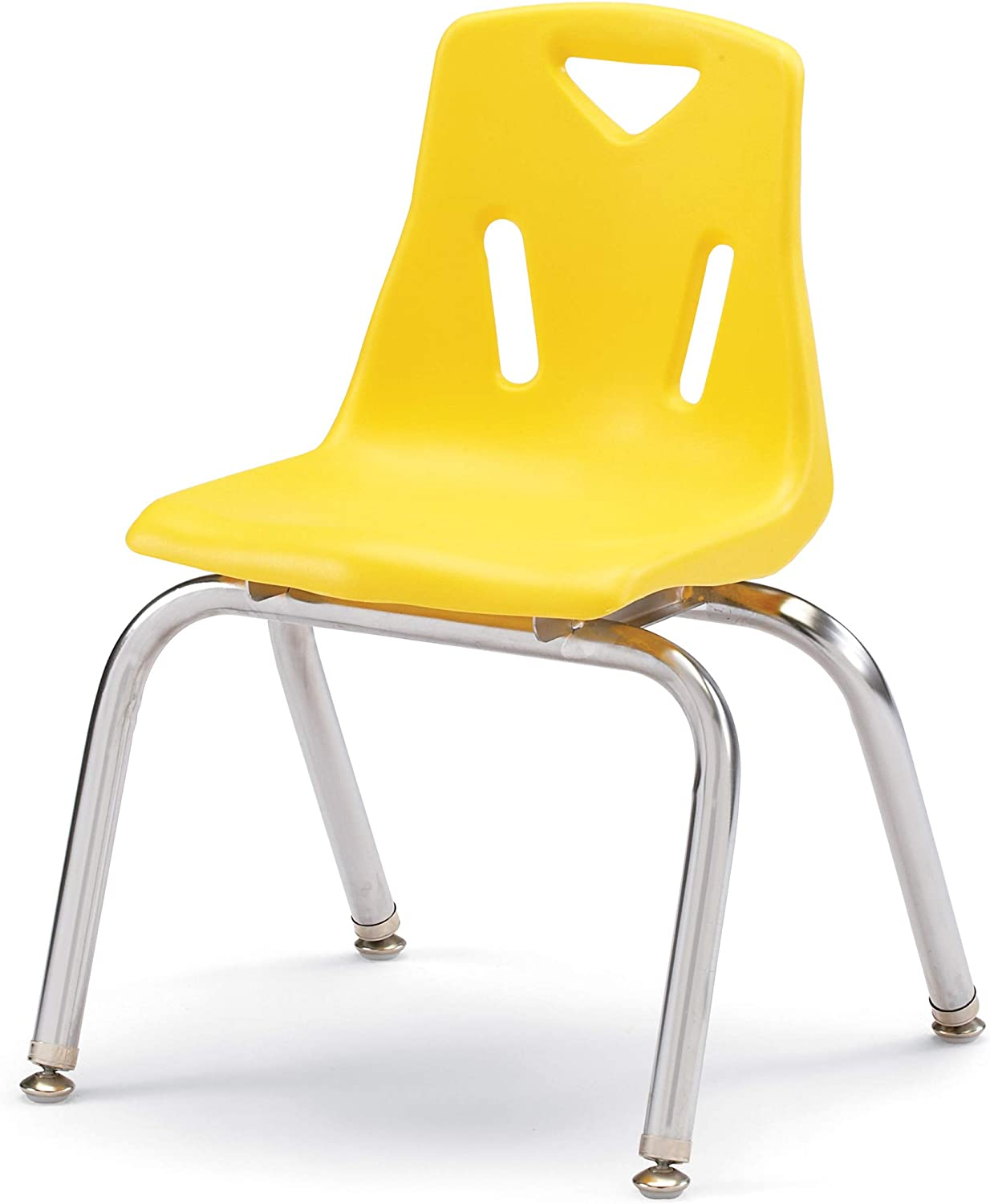 Berries 8144JC1007 Stacking Chair with Chrome-Plated Legs, 14  Height, Yellow