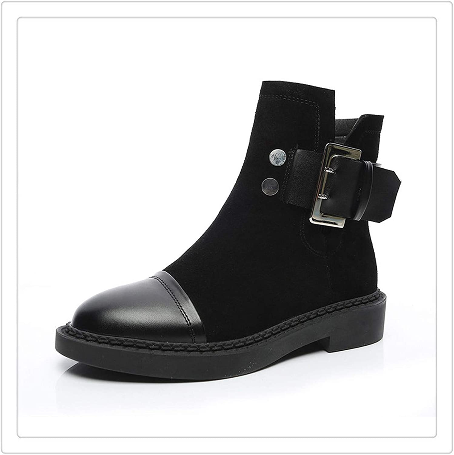 Anghuluqub Women Boots Genuine Leather Winter Ankle shoes Warm Plush Black Boot
