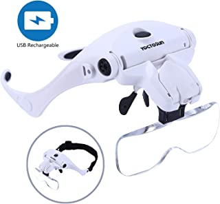 YOCTOSUN LED Head Magnifier, Rechargeable Hands Free Headband Magnifying Glass with 2..