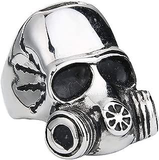 Gungneer Skull Gothic Punk Alien Skull Gas Mask Ring Vintage Stainless Steel Skeleton Jewelry