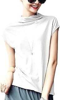 Meow Meow Lace Women's Mock Neck Sleeveless Top Tanks Turtleneck Blouse Plain Shirt