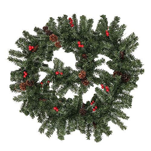Weihnachtsgirlande Tannengirlande 270CM Girlande Weihnachten Dekoriert Grün Künstlich Geschmückt Tannen Girlande mit Roter Beeren Zapfen Weihnachtsdeko Schöne Dekorationen für Kamine Treppen Wand Tür