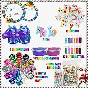 Unicorn Slime Kit – Slime Supplies Slime Making Kit for Girls Boys, Kids Art Craft, Crystal Clear Slime, Glitter, Unicorn Slime Charms, Fishbowl Beads Girls Toys Gifts for Kids Age 6+ Year Old