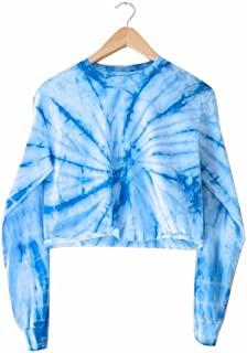 Sky Blue Tie-Dye Cropped Long Sleeve Tee