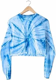 Sky Blue Tie-Dye Cropped Long Sleeve Tee