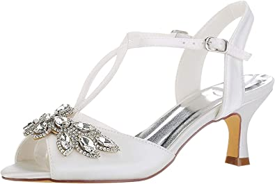 Emily Bridal Scarpe da Sposa Avorio Peep Toe Strass Kitten Heel Scarpe da Sposa Scarpe da Donna