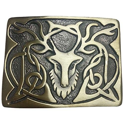Celtic Knot Stag Head Kilt Belt Buckle Various Finish Scottish Belts Buckles Deer Stag Head (Stag Head Buckle Antique Finish)