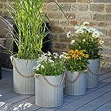 Wunderschönes Zinkgefäß/Zinkbehälter zum Bepflanzen - Farbe: Natur Zink - Innen & Außen - Winterfest - Pflanzgefäß/Gartendeko (Kübel mit Tau - 4er Set)