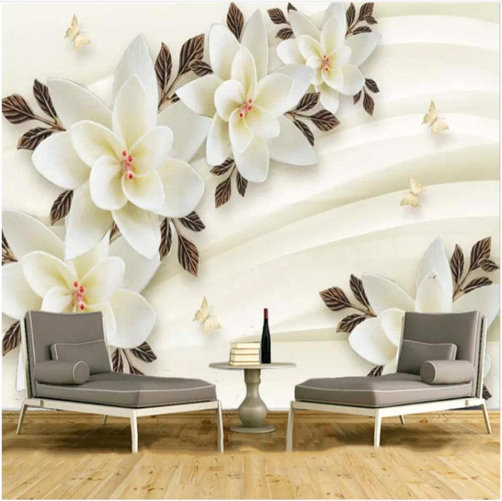 xbwy Modern Jade Al sold out. Trust Carving White Flowers Mural Wallpaper Ro Living