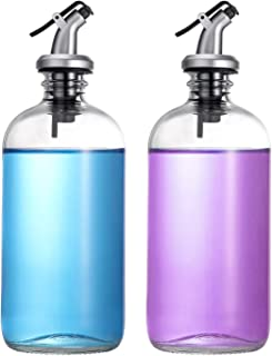 16-Ounce Glass Mouthwash Dispenser - Clear Glass Bottle with Pour Spout, Shot Glass, Funnel and Labels, Refillable Brown Boston Round Bottles for Mouthwash, Liquid Soap, Dish Soap, Lotion - 2 Pack
