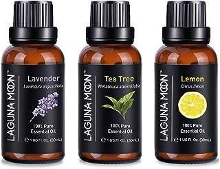 Lagunamoon Aromatherapy Oils, Essential Oils Set for Diffuser, Humidifier, Massage, Aromatherapy, 30mL X 3(Lavender, Tea Tree, Orange)
