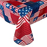 Newbridge American Flag Patchwork Indoor/Outdoor Fabric Tablecloth - Red, White, Blue Rustic Patriotic Flag Print Hotel Quality - Water Repellent Fabric Tablecloth, 60 Inch x 102 Inch Oblong/Rectangle