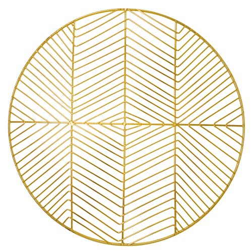Koyal Wholesale Round 14.5' Gold Modern Metal Wire Geometric Charger Plates, Placemats, Set of 4, Table Setting, Tabletop, Wedding Tablescape, Holidays, Events, Dining Room, Outdoors, Decorative Use