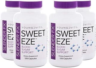 Slender FX Sweet Eze Blood Sugar Regulator - 4 Bottles 120 Capsules Per Bottle (Ships Worldwide)