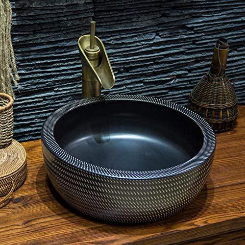 Hiwenr Western antieke Chinese keramische gekleurde badkamer wastafel handwas schalen wastafel badkamer wastafel jingdezhen keramische Lavabo wastafel