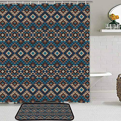Bathroom Sets with Shower Curtain and Rugs Native American Decor, Knitted Jacquard View Fabric Geometric, for Living Room Bedroom Nursery Dining Room
