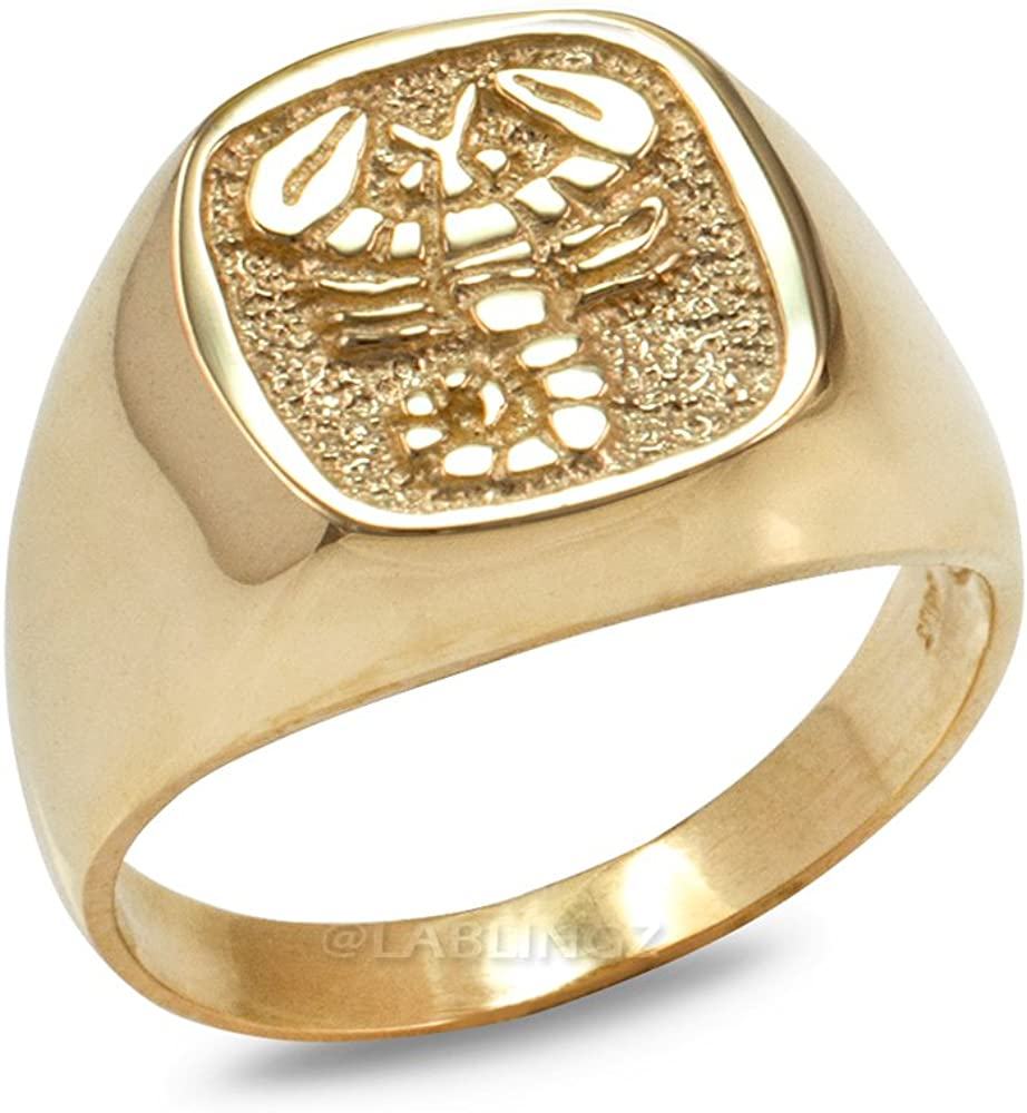 10K Yellow Gold Scorpio Mens Ring Zodiac Over Beauty products item handling ☆