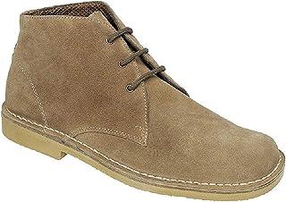 Roamers Leonard Mens Square Toe Suede Leather Desert Boots Sand