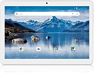 Tablet 10.1 Inch, 3G Unlocked Phablet, Android 8.1 Tablet PC with Dual SIM Card Slots and Cameras, 1280x800 IPS, Quad Core Processor, 16GB Storage, 6000mAh Battery, WiFi, Bluetooth, GPS, FM-Silver